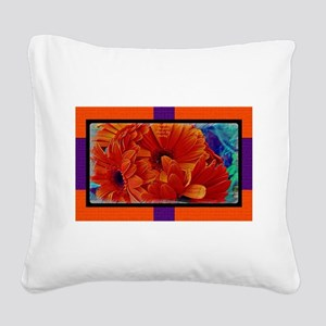 Flower-Daisy-Orange Square Canvas Pillow