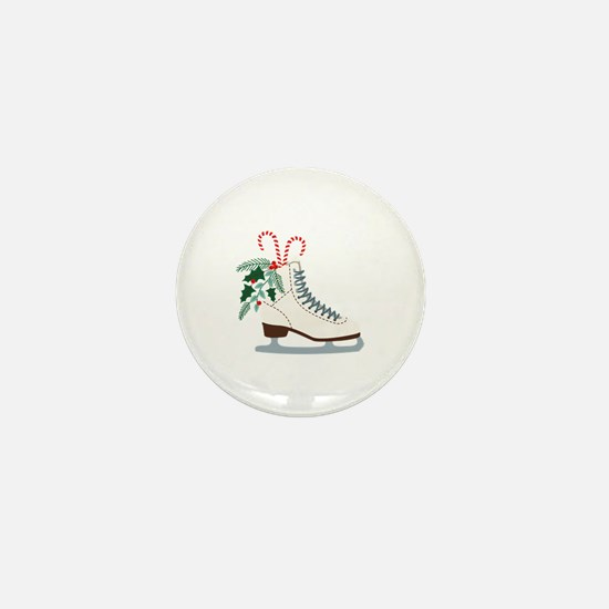 Holiday Ice Skate Mini Button