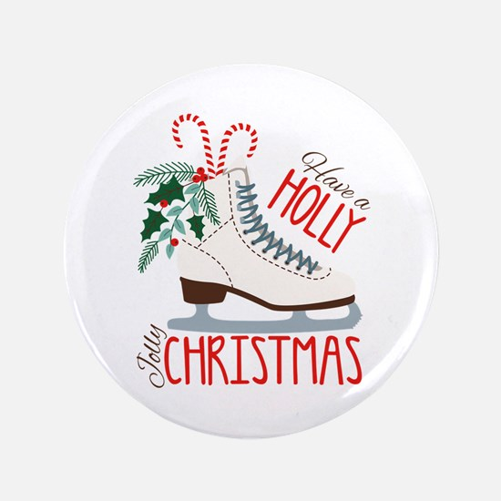 Holly Christmas Button
