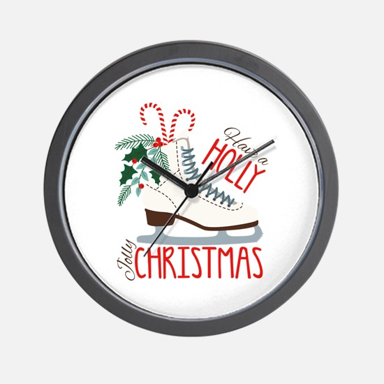 Holly Christmas Wall Clock