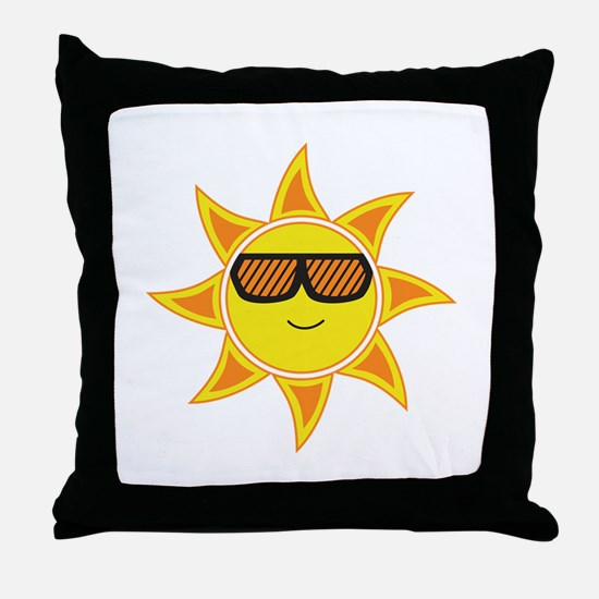 Sun With Glasses Throw Pillow