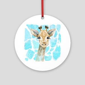Friendly Baby Giraffe Round Ornament