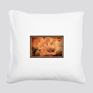 Flowers-Peach-Color Square Canvas Pillow