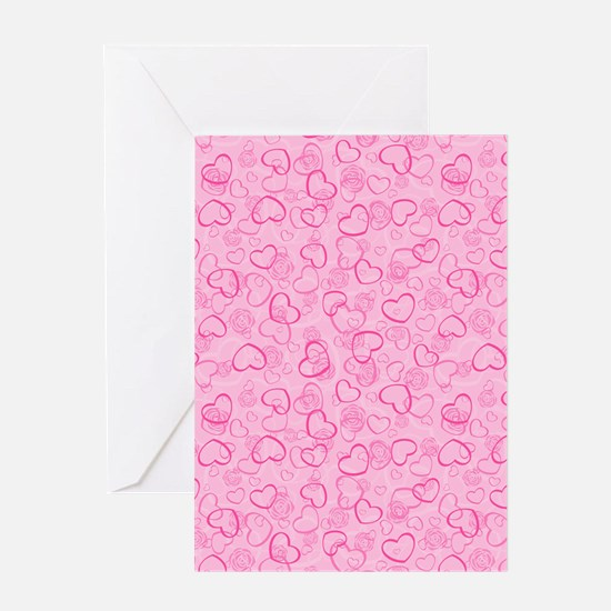 Abstract Hearts and Flowers Print Greeting Cards