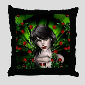 EMERALD ROSE GARDEN Throw Pillow
