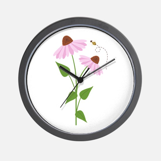 Coneflower Bees Wall Clock