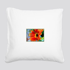 Flowers-Daisy-Orange Square Canvas Pillow