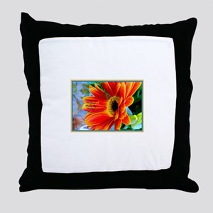 Flowers-Daisy-Orange Throw Pillow