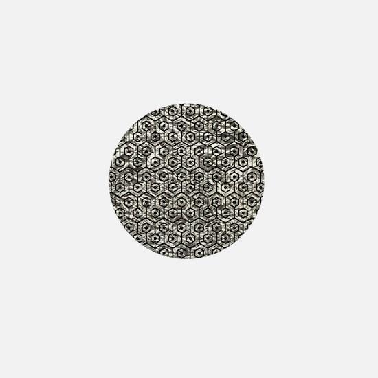 HEXAGON1 BLACK MARBLE & SILVER FOIL Mini Button