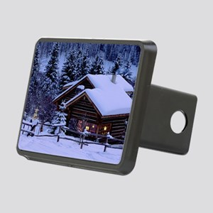 Log Cabin During Christmas Rectangular Hitch Cover