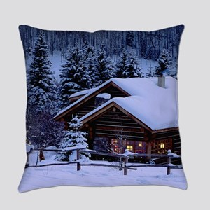 Log Cabin During Christmas Everyday Pillow