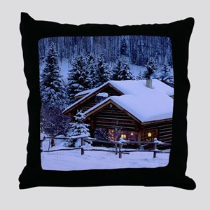 Log Cabin During Christmas Throw Pillow