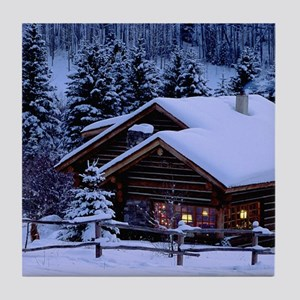Log Cabin During Christmas Tile Coaster