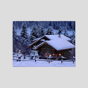 Log Cabin During Christmas 5'x7'Area Rug