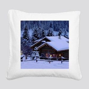 Log Cabin During Christmas Square Canvas Pillow