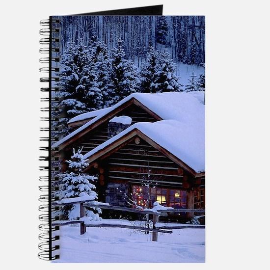 Log Cabin During Christmas Journal