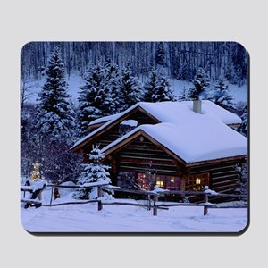Log Cabin During Christmas Mousepad