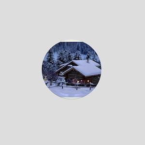 Log Cabin During Christmas Mini Button