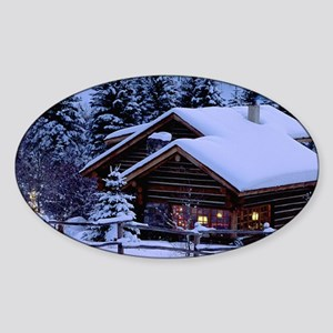 Log Cabin During Christmas Sticker