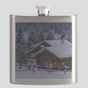 Log Cabin During Christmas Flask