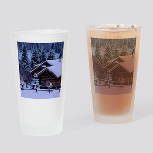 Log Cabin During Christmas Drinking Glass