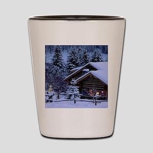 Log Cabin During Christmas Shot Glass