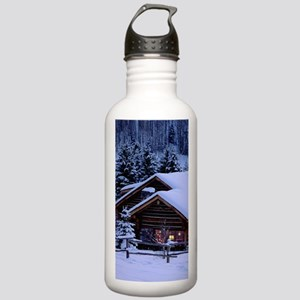 Log Cabin During Christmas Sports Water Bottle