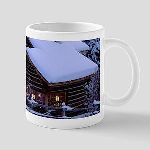 Log Cabin During Christmas Mugs