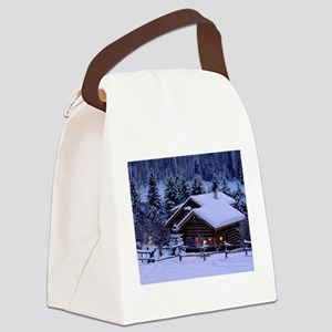 Log Cabin During Christmas Canvas Lunch Bag