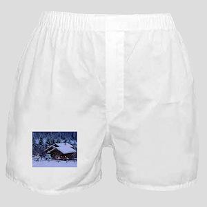 Log Cabin During Christmas Boxer Shorts