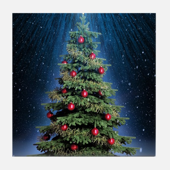 Beautiful Christmas Tree Tile Coaster