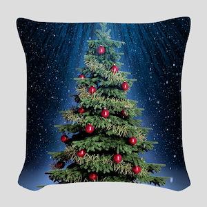 Beautiful Christmas Tree Woven Throw Pillow