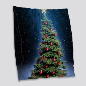 Beautiful Christmas Tree Burlap Throw Pillow