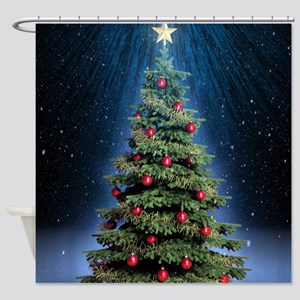 Beautiful Christmas Tree Shower Curtain