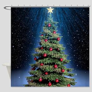 Beautiful Christmas Tree Shower Curtain