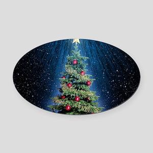 Beautiful Christmas Tree Oval Car Magnet