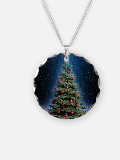 Beautiful Christmas Tree Necklace Circle Charm