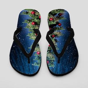 Beautiful Christmas Tree Flip Flops
