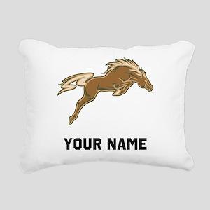 Horse Jumping Rectangular Canvas Pillow