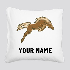 Horse Jumping Square Canvas Pillow