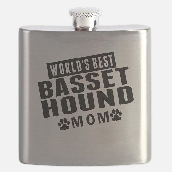 Worlds Best Basset Hound Mom Flask