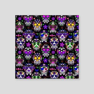 "Candy Skulls Pattern Square Sticker 3"" x 3"""