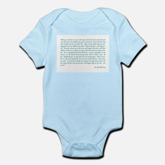 MEREDITH ADDRESSES THE INTERNS Infant Bodysuit