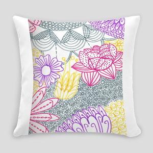 Flower Line Art Everyday Pillow