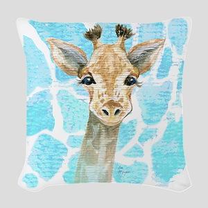 Friendly Baby Giraffe Woven Throw Pillow