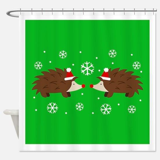 Christmas Hedgehogs Shower Curtain