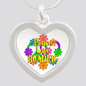 Peace Love Reading Silver Heart Necklace
