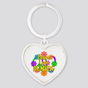 Peace Love Reading Heart Keychain