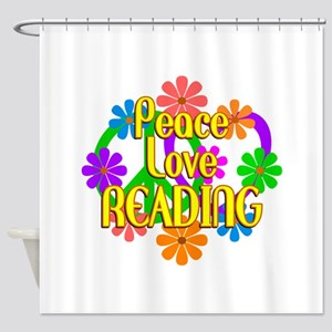 Peace Love Reading Shower Curtain