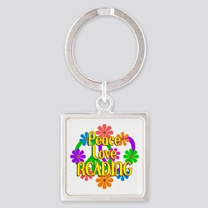Peace Love Reading Square Keychain
